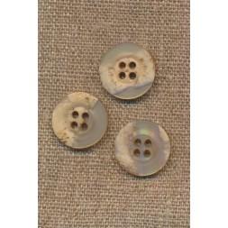4-huls knap krakeleret beige/pudder, 18 mm.-20