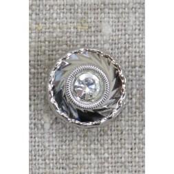 Rund facetslebet sølv knap med simili sten 15 mm.-20