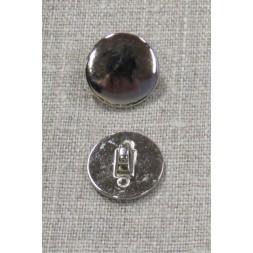 Rund metal-knap i sølv, 15 mm-20