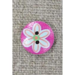 Knap træ rund i pink med lyseblå blomst, 15 mm.-20
