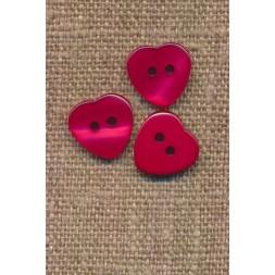 Hjerte knap i rød, 12 mm.-20