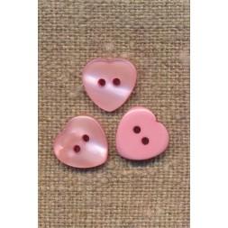 Hjerte knap i lyserød, 12 mm.-20