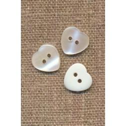Hjerte knap i hvid, 12 mm.-20