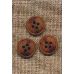 4-huls knap meleret brun mørkebrun og rust, 15 mm.-20