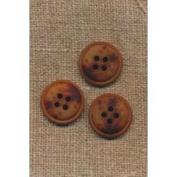 4-huls knap meleret brun mørkebrun og rust, 18 mm.-20