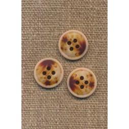 4-huls knap meleret natur brun gylden 15 mm.-20