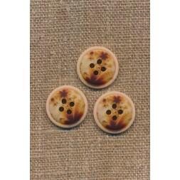 4-huls knap meleret natur brun gylden 18 mm.-20