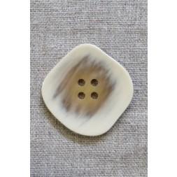 Skæv firkantet knap i offwhite og beige, 34 mm.-20