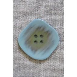 Skæv firkantet knap i vandgrøn og beige, 34 mm.-20