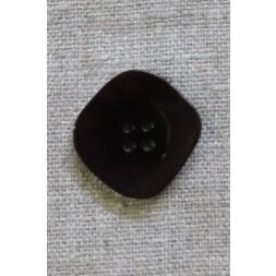 Skæv firkantet knap i mørk rød-brun og sort, 23 mm.-20