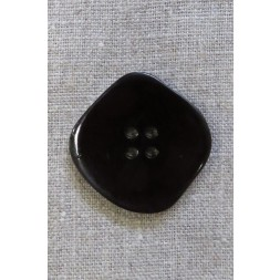 Skæv firkantet knap i mørk rød-brun og sort, 34 mm.-20