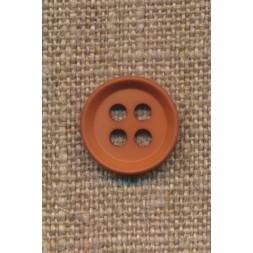4-huls knap i rød-brun 15 mm.-20