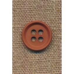 4-huls knap i rød-brun 18 mm.-20