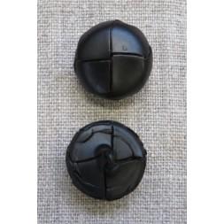 Plast knap i læderlook i sort 20 mm.-20