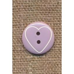 Knap med hjerte i lyselilla, 15 mm.-20