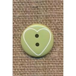 Knap med hjerte i lys grøn, 15 mm.-20