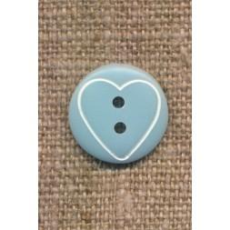 Knap med hjerte i lys blå, 15 mm.-20