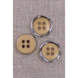 4-huls knap beige/gylden med sølv kant, 20 mm.-20