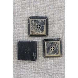 Horn-knap firkantet i sort 4-huls, 20 mm.-20