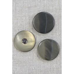 Rund knap meleret i støvet army og oliven, 34 mm.-20