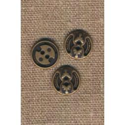 2-huls metal knap i oxyderet med mønster, 14 mm.-20