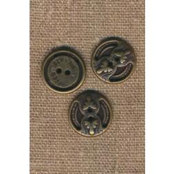 2-huls metal knap i oxyderet med mønster, 18 mm.-20