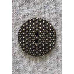 2-huls Gl.guld knap med prikker, 28 mm.-20