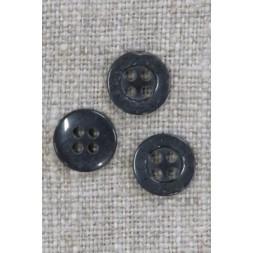 Lille koksgrå 4-huls knap, 10 mm.-20