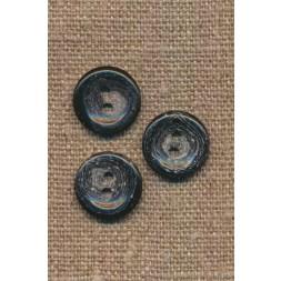 Recycled meleret 2-huls plast knap i sort og grå 15 mm.-20