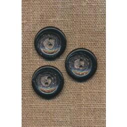 Recycled meleret 2-huls plast knap i sort og grå 20 mm.-20