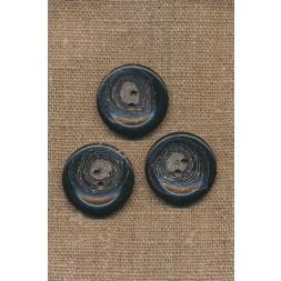 Recycled meleret 2-huls plast knap i sort og grå 25 mm.-20
