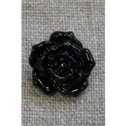 Knap med rose i sort, 18 mm.-20