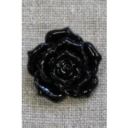 Knap med rose i sort, 25 mm.-20