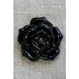 Knap med rose i sort, 34 mm.-20