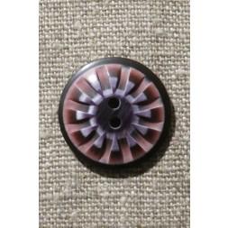 2-huls knap mønstret i rosa aubergine lilla 25 mm.-20