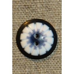 2-huls knap mønstret i hvid sort denim 20 mm.-20