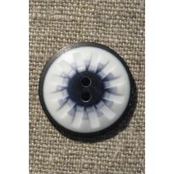 2-huls knap mønstret i hvid sort denim 25 mm.-20