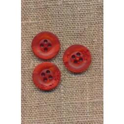 4-huls knap krakeleret brændt orange, 15 mm.-20