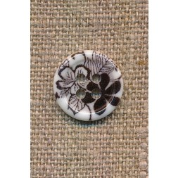 4-huls Knap med blomster i hvid og sort, 15 mm.-20