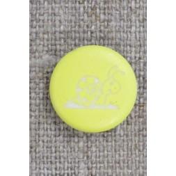 Knap i lys gul med snegl, 15 mm.-20