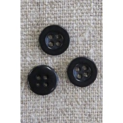 Lille sort 4-huls knap, 10 mm.-20