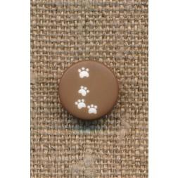 Knap med poter i brun, 12 mm.-20