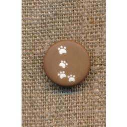 Knap med poter i brun, 15 mm.-20