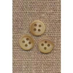 Lille 4-huls knap i offwhite og beige meleret 9 mm.-20
