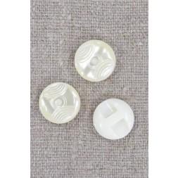 Offwhite knap blank med mønster og kanal, 15 mm.-20