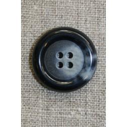 Blå meleret 4-huls knap, 25 mm.-20