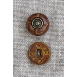 Gylden brun knap i læderlook med oxyderet midte 15 mm.-20