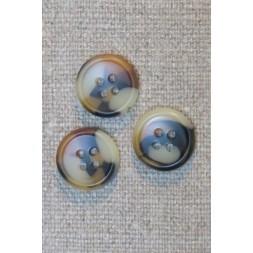4-huls knap i brun, gylden og beige meleret, 15 mm.-20