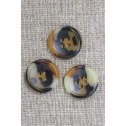 4-huls knap i brun, gylden og beige meleret, 18 mm.-20