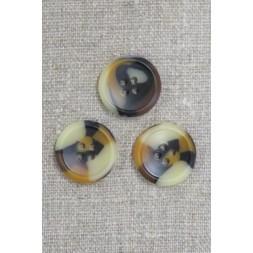 4-huls knap i brun, gylden og beige meleret, 22 mm.-20
